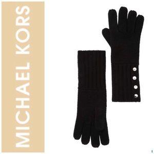 Michael Kors Black Ribbed Knit Gloves